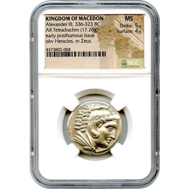 Ancient Greece - 336-323 BC Kingdom of Macedon Alexander III AR Tetradrachm NGC MS