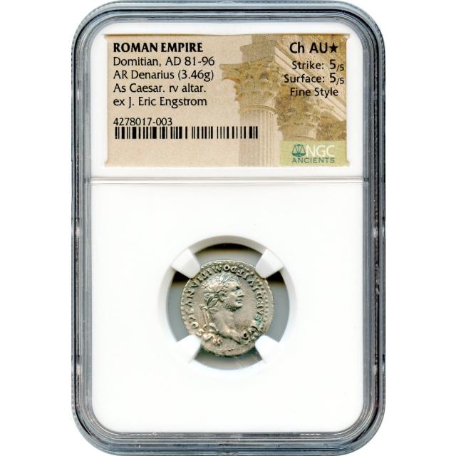 Ancient Rome -  81-96 AD Domitian AR Denarius NGC Choice AU* in Fine Style