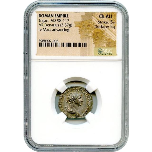 Ancient Rome - 98-117 CE Trajan AR Denarius NGC Choice AU