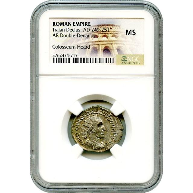 Ancient Rome - AD 249-251 Trajan Decius AR Double-Denarius NGC MS