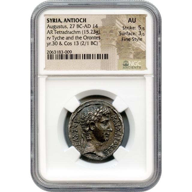 Ancient Rome - c. BCE 5 Augustus AR Tetradrachm of Antioch, Syria NGC AU in Fine Style