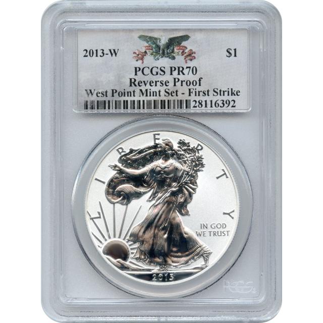 2013-W S$1 Silver American Eagle 1oz PCGS PR70 Reverse Proof - First Strike Mint Set (1) of (2)