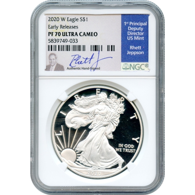 2020-W S$1 Silver American Eagle NGC PR70 Ultra Cameo Early Releases