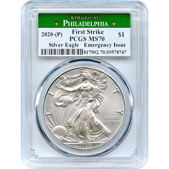 2020-(P) S$1 SIlver American Eagle Emergency Issue PCGS MS70