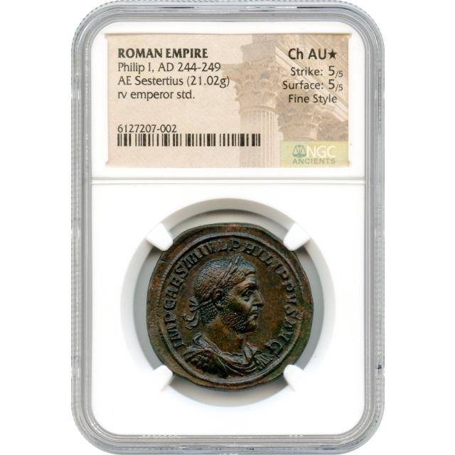 Ancient Rome - AD 244-249 Philip I AE Sestertius NGC Choice AU* Fine Style