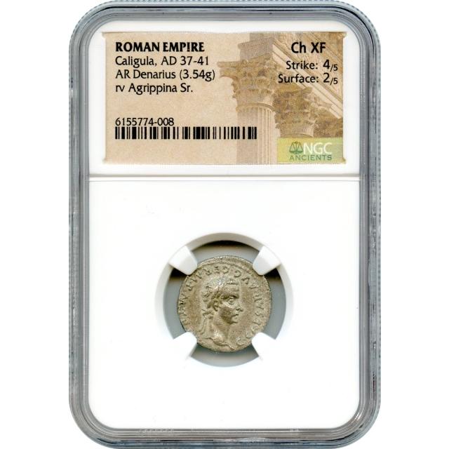 Ancient Rome - 37-41 CE Caligula AR Denarius NGC Choice XF