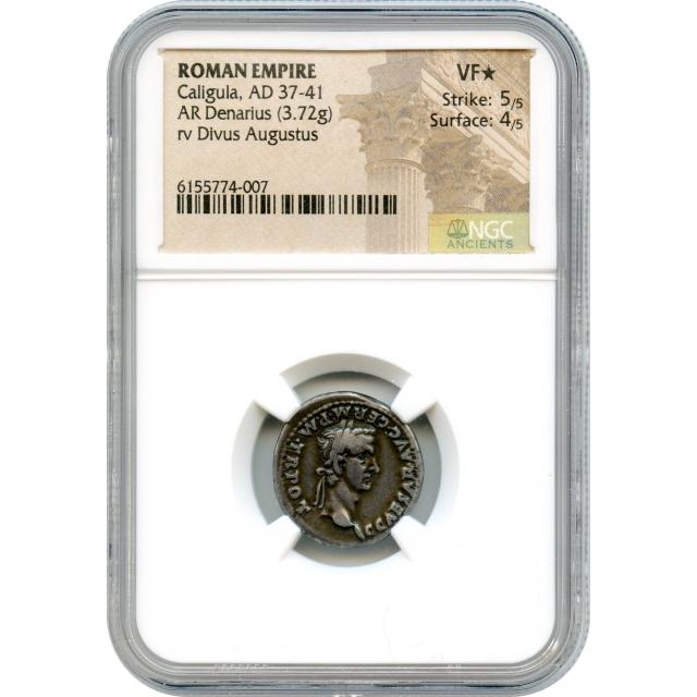 Ancient Rome - 37-41 CE Caligula AR Denarius NGC VF(*)