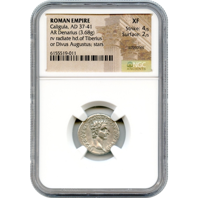 Ancient Rome - 37 CE Caligula AR Denarius NGC XF