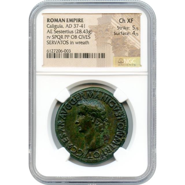 Ancient Rome - 37 CE Caligula AE Sestertius NGC Choice XF