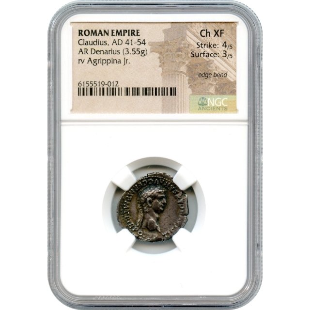 Ancient Rome - 41-54 CE Claudius AR Denarius NGC Choice XF