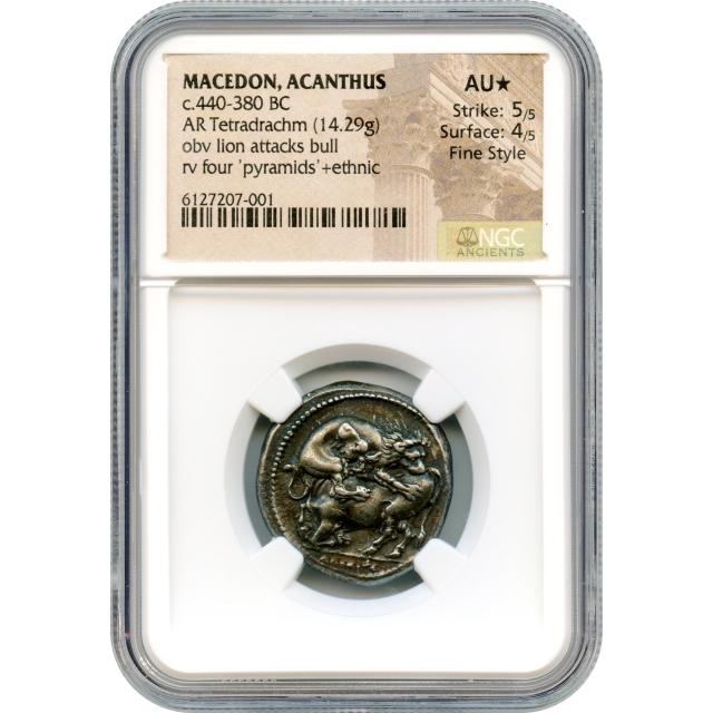 Ancient Greece - 440-380 BCE Kingdom of Macedon, Acanthus, AR Tetradrachm NGC AU★ Fine Style