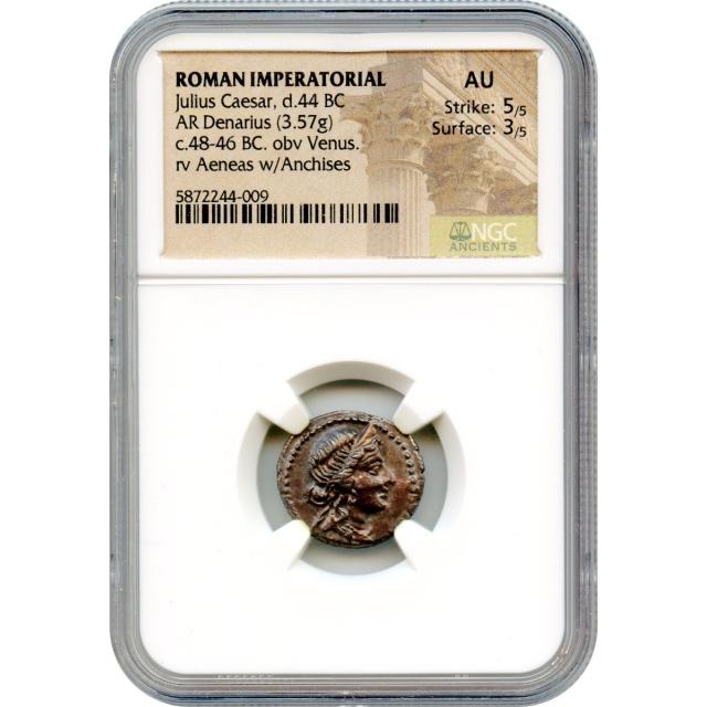 Ancient Roman Imperatorial - 48-46 BCE Julius Caesar AR Denarius NGC AU