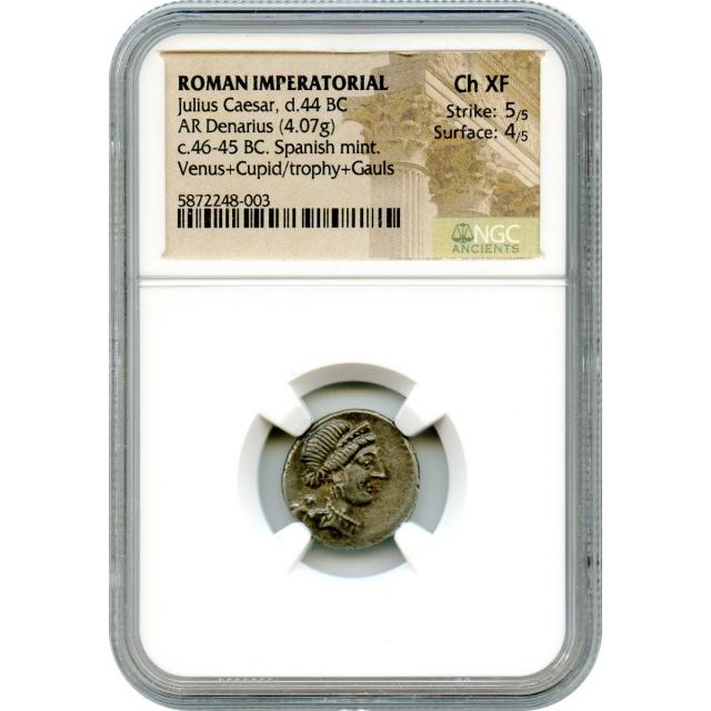 Ancient Roman Republic -   46-45 BCE Julius Caesar AR Denarius NGC Choice XF