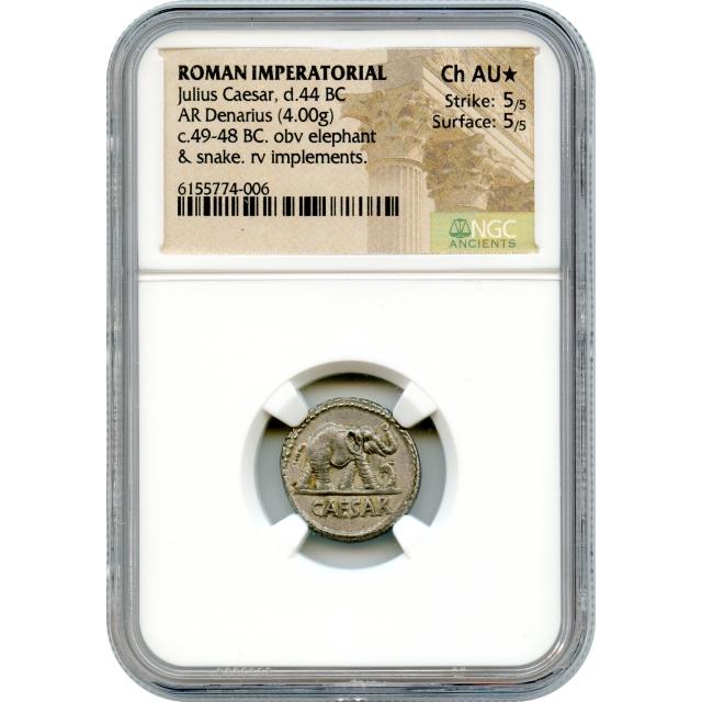 Ancient Roman Imperatorial - 49-48 BCE Julius Caesar AR Denarius NGC Choice AU* Elephant obverse!