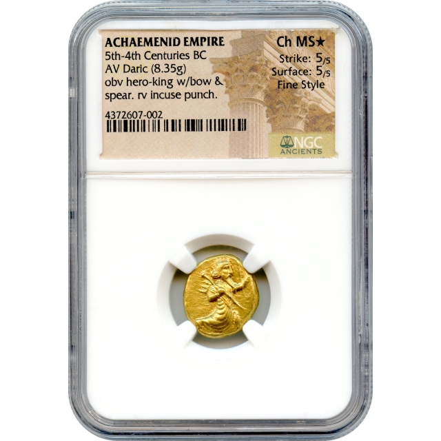 Ancient Archaic Period - 420-385 BCE Achaemenid Persian Empire AV Daric NGC Choice MS*