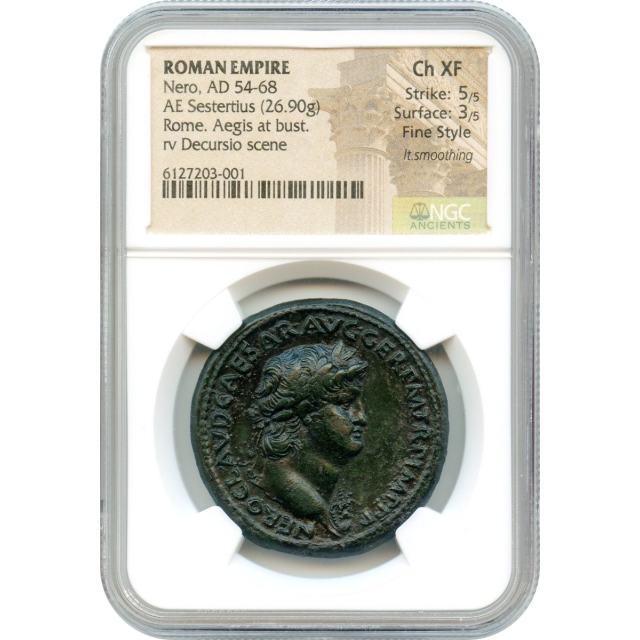 Ancient Rome - 54-68 CE Nero AE Sestertius NGC Choice XF Fine Style