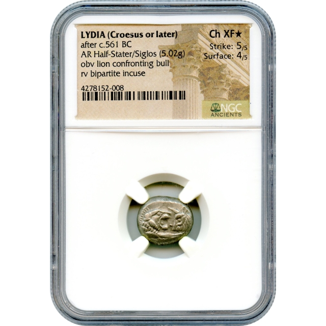 Ancient Archaic Period - 561 BCE Lydia (Croesus or later) AR Half-Stater/Siglos NGC Choice XF(*)