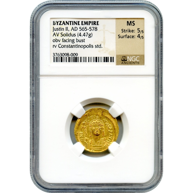 Byzantine Empire - AD 565-578 Justin II AV Solidus NGC MS