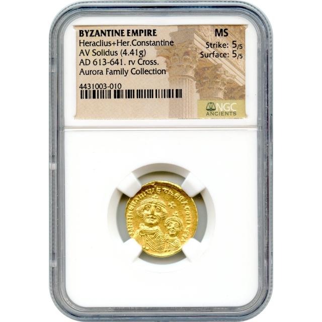 Byzantine Empire - AD 613-641 Heraclius+Heraclius Constantine AV Solidus NGC MS