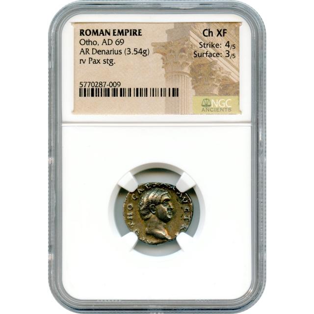 Ancient Rome - 69 CE Otho AR Denarius NGC Choice XF