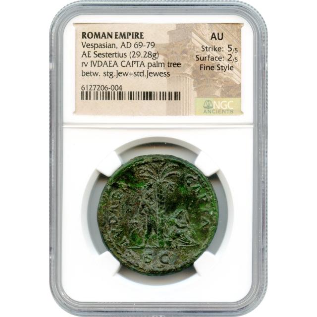 Ancient Rome - 69-70 CE Vespasian AE Sestertius NGC AU in Fine Style