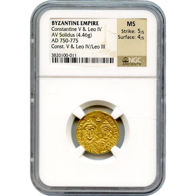 Byzantine Empire - AD 750-775 Constantine V & Leo IV AV Solidus NGC MS