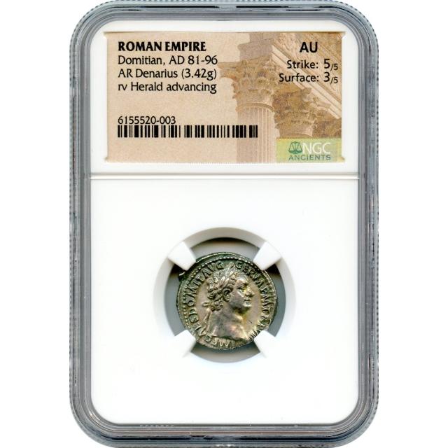 Ancient Rome - 81-96 CE Domitian AR Denarius NGC AU