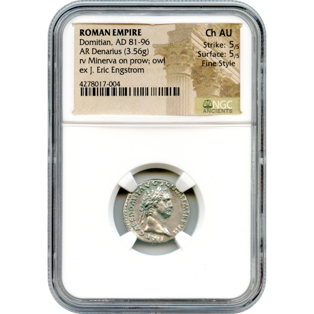 Ancient Rome - 81-96 CE Domitian AR Denarius NGC Choice AU in Fine Style
