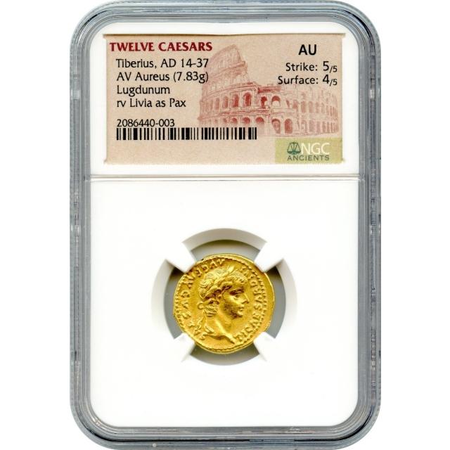 Ancient Rome -  14-37 AD Tiberius AV Aureus NGC AU