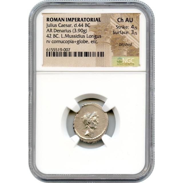 Ancient Roman Imperatorial - 42 BCE Julius Caesar AR Denarius NGC Choice AU - L. Mussidius Longus moneyer