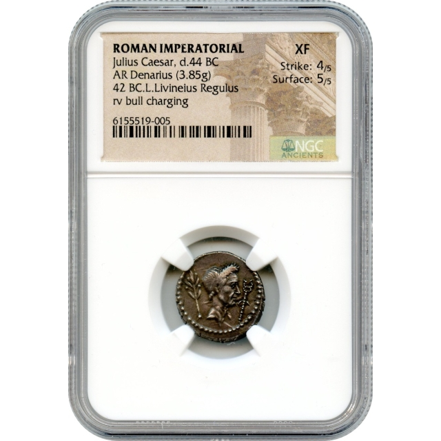 Ancient Roman Republic - 42 BCE Julius Caesar AR Denarius NGC XF