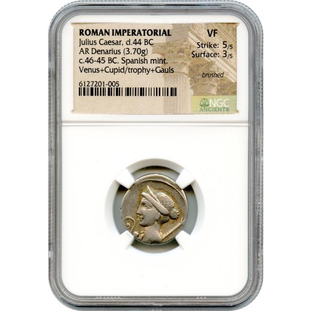 Ancient Roman Imperatorial - 46-45 BCE Julius Caesar AR Denarius NGC VF