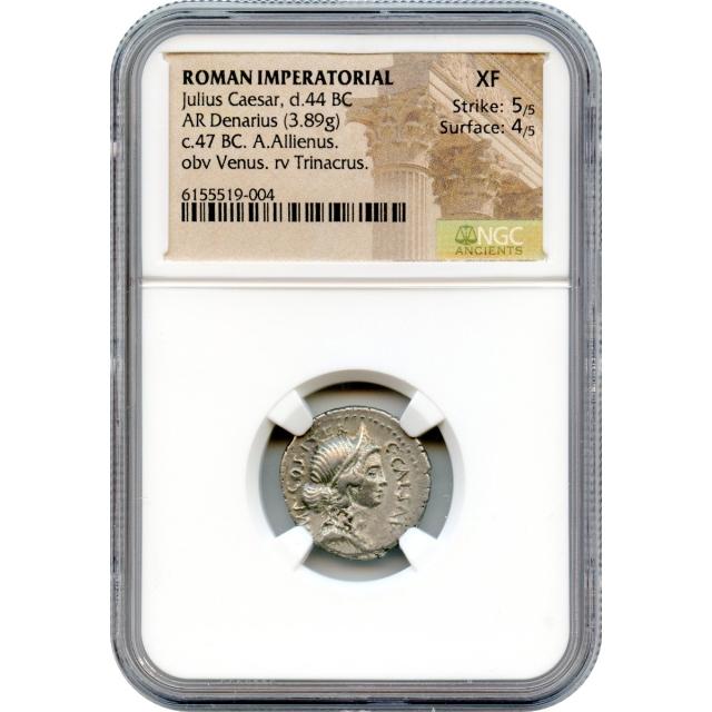 Ancient Roman Imperatorial - 47 BCE Julius Caesar AR Denarius NGC XF