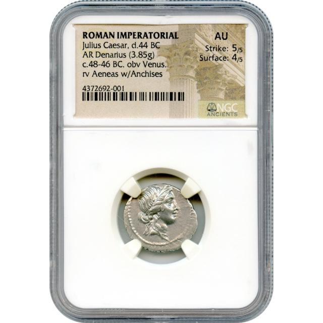 Ancient Roman Republic - 48-46 BCE Julius Caesar AR Denarius NGC AU