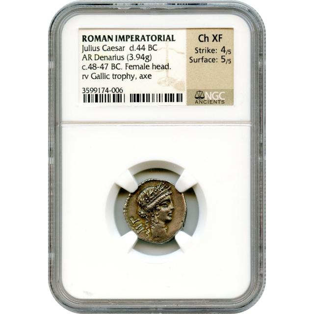 Ancient Roman Imperatorial - 48-47 BCE Julius Caesar AR Denarius NGC Choice XF