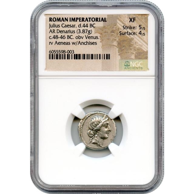 Ancient Roman Republic -   48-46 BCE Julius Caesar AR Denarius NGC XF