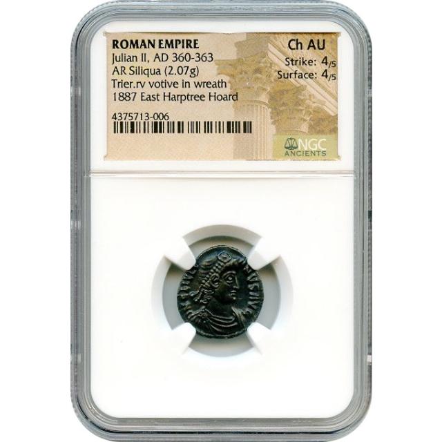 Ancient Rome Western Empire - AD 360-363 Julian II AR Siliqua NGC Choice AU Ex. Harptree Hoard