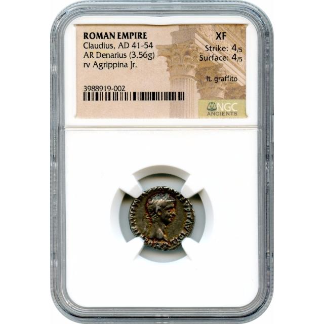 Ancient Rome - 50-51 CE Claudius AR Denarius NGC XF