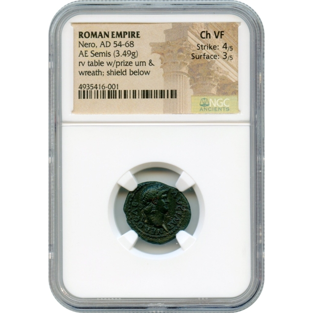 Ancient Rome - 54-68 CE Nero AE Semis NGC Choice VF