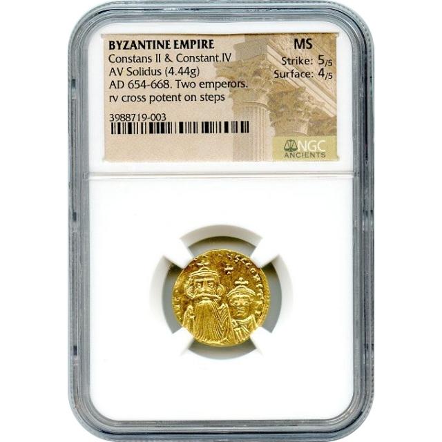 Byzantine Empire - 654-668 AD Constans II & Constantine IV AV Solidus NGC MS