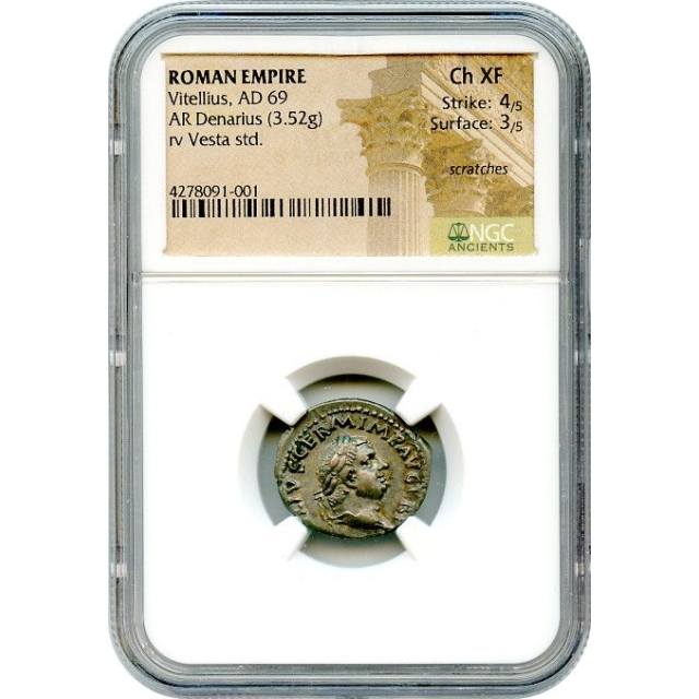 Ancient Rome--69 CE, Vitellius AR Denarius, NGC Choice XF