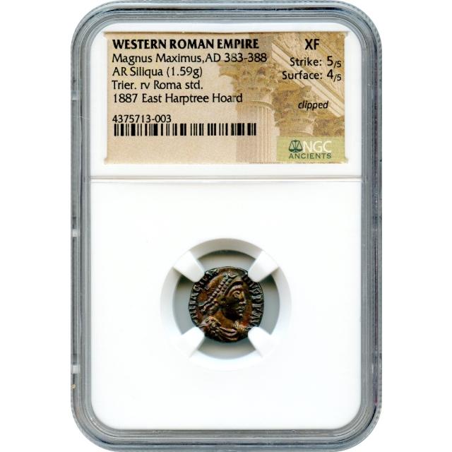Ancient Rome Western Empire - AD 383-388 Magnus Maximus AR Siliqua NGC XF Ex.Harptree Hoard