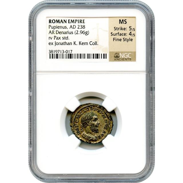 Ancient Rome - AD 238 Pupienus AR Denarius NGC MS Fine Style Ex. Kern