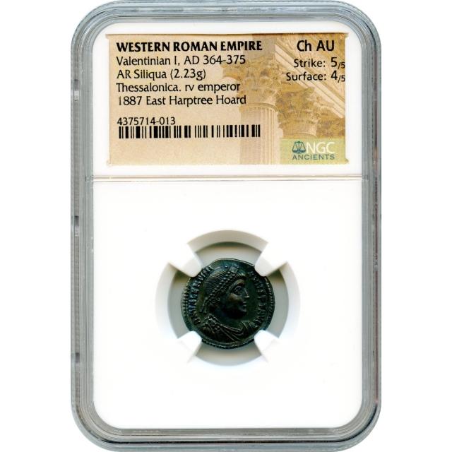 Ancient Rome Western Empire - AD 364-378 Valentinian I AR Siliqua NGC Choice AU Ex.Harptree Hoard
