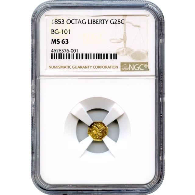 1853 California Gold Rush Circulating Fractional Gold 25C, BG-101 Liberty Octagonal NGC MS63 R5-
