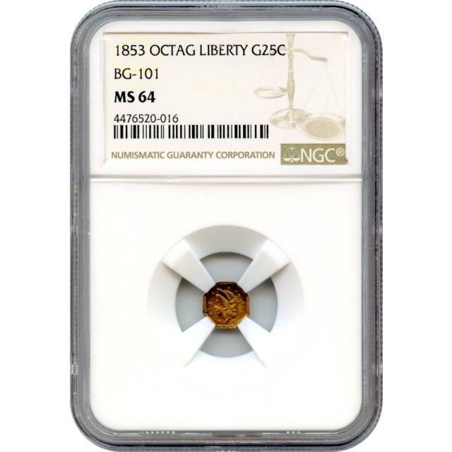 1853 California Gold Rush Circulating Fractional Gold 25C, BG-101 Liberty Octagonal NGC MS64 R5-