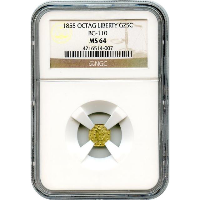 1855 California Gold Rush Circulating Fractional Gold 25C, BG-110 Liberty Octagonal NGC MS64 R5- R4+