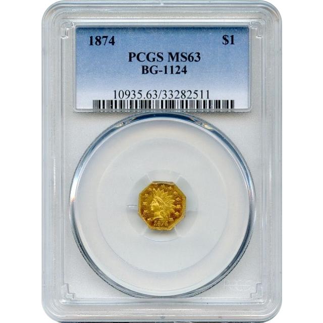 BG-1124 G$1 1874 California Fractional, Indian Octagonal PCGS MS63 R4+ Ex.1950 Golden Anniversary