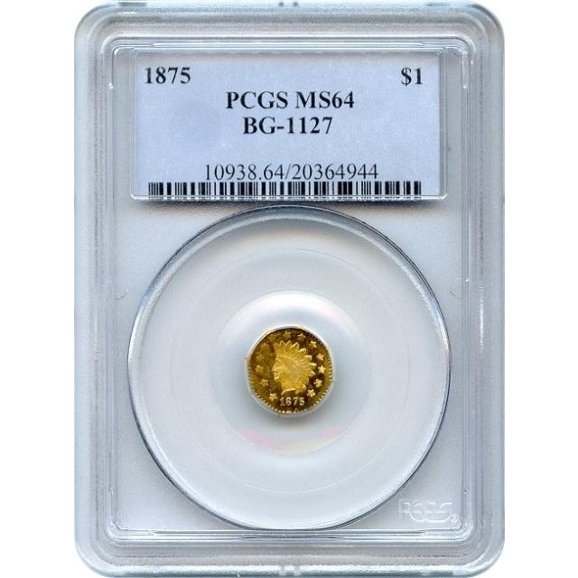 BG-1127 G$1 1875 California Fractional, Indian Octagonal PCGS MS64 R4