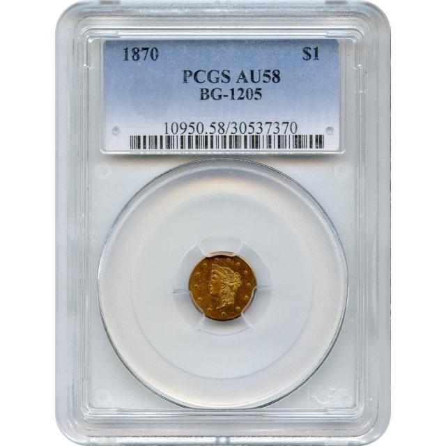 BG-1205 G$1 1870 California Fractional, Liberty Round PCGS AU58 R4+